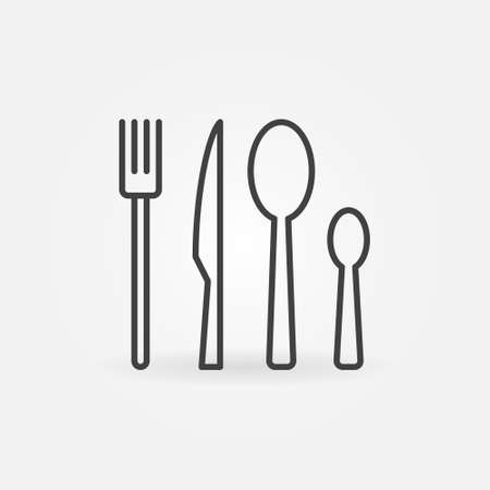 Fork, Knife and Spoons vector concept linear icon