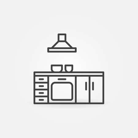 Kitchen outline vector concept icon or symbol