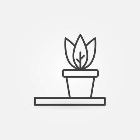 House Plant vector thin line concept icon or symbol Ilustração