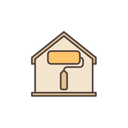 Paint Roller inside House colored icon - vector symbol