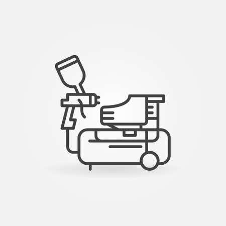 Compressor and Spray Gun vector concept line icon