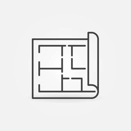 House Plan vector outline concept minimal icon