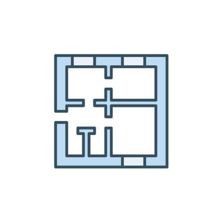 House Floor Plan vector concept blue icon