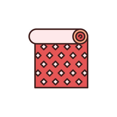 Roll of Red Wallpaper with Creative Texture vector icon