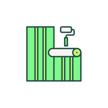 Paint Roller and Green Wallpaper vector concept icon