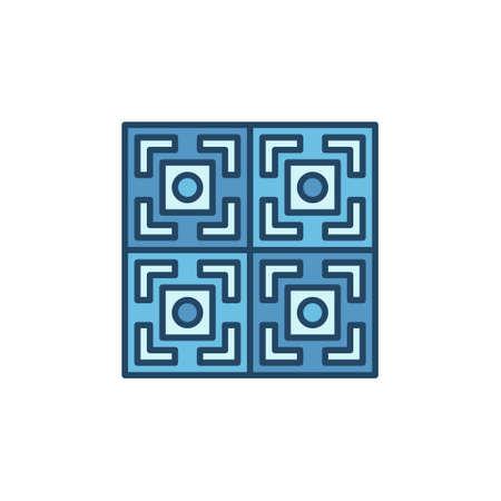 Four Tiles with Geometric Texture vector concept blue icon Ilustração