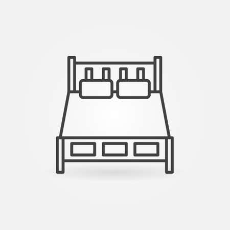 Double Bed vector concept icon in thin line style