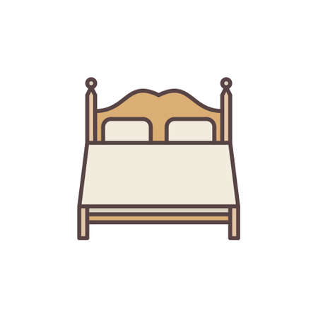 Double Bed vector concept cute colored icon
