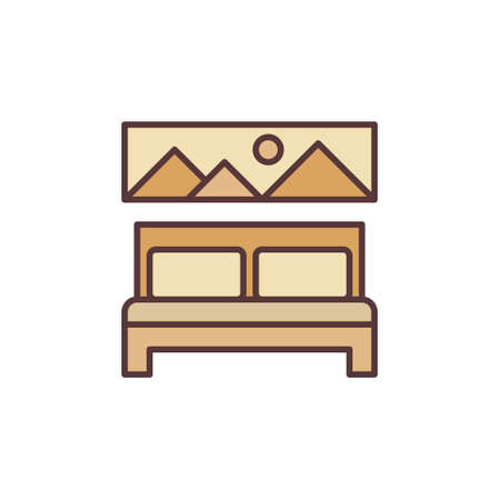 Vector Double Bed concept colored creative icon