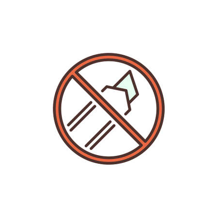 Do not Cut with Utility Knife vector round colored icon