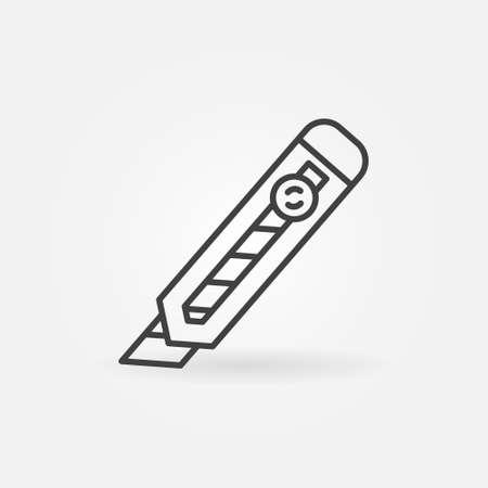 Stationery Knife or Paper Cutter linear vector concept icon Ilustração