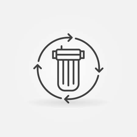 Replacing the Water Filter vector concept line icon