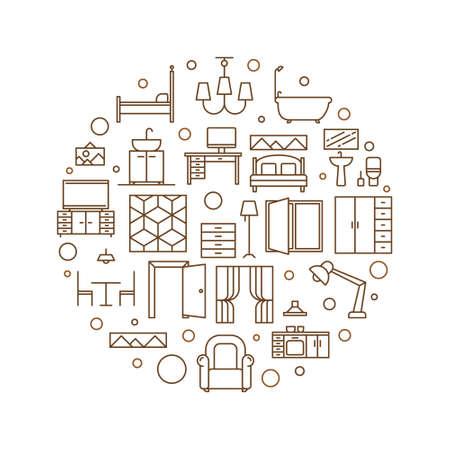 Home vector round Interior Design outline illustration