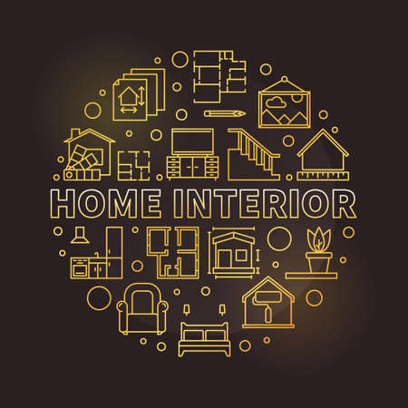 Vector Home Interior round concept golden line illustration Ilustração