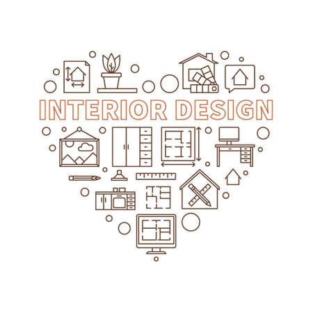 Interior Design vector heart shaped outline illustration Ilustração