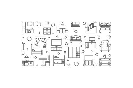 Furniture vector concept outline minimal horizontal illustration