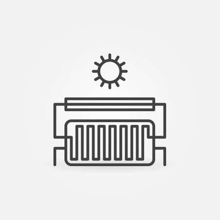 Solar Water Heater outline icon. Vector Solar Heating sign