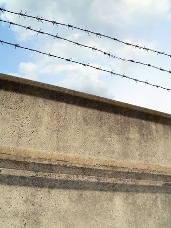 jailhouse: barbed-wire fence Stock Photo