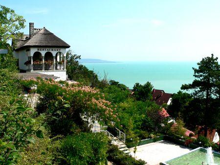 hungarian resort restauranthotel - lake balaton Stock Photo