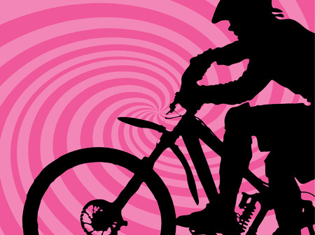 bycicle: pink retro twirl background with mountain biker (vector eps format)