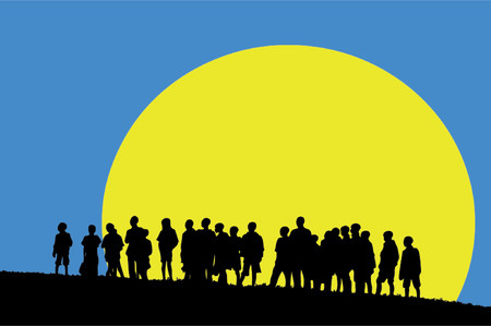silhouettes of young children in sunset (vector eps format) Vector