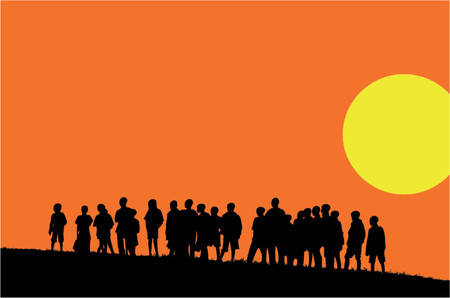 silhouettes of young children in sunset (vector eps format)