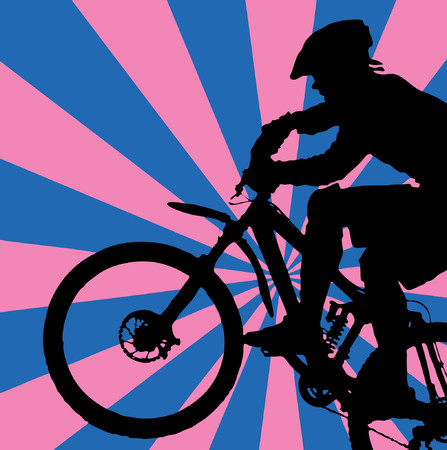 bycicle: blue-pink retro background with mountain biker (vector eps format)