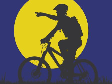 vision nocturna: bicicleta de monta�a a la luz de la luna (formato vectorial eps)