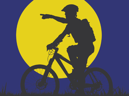 mountain biker in moonlight (vector eps format) Illustration