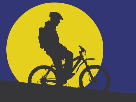 vision nocturna: ciclista de monta�a en la luz de la luna (formato vector eps)