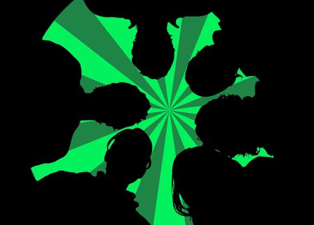 woman looking down: retro green background with silhouette of a group of people (vector eps format)