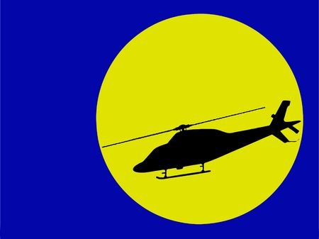 modern helicopter silhouette in moonlight (vector eps format) Illustration