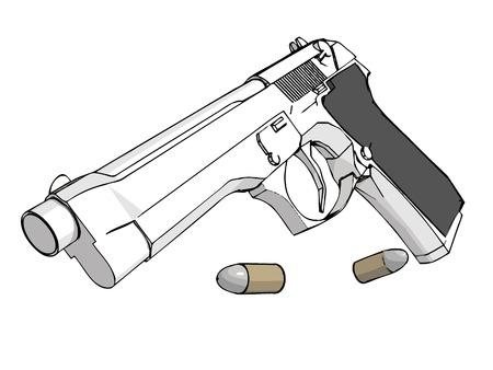 pistolas: Aislados 3D pistola con municiones (formato vectorial eps)
