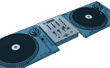 disk break: turntables with audio mixing console (vector eps format)