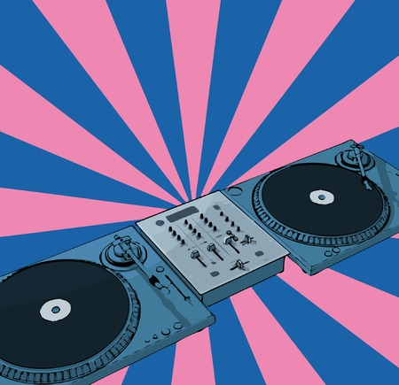 disk break: turntables & audio mixing console with retro background (vector eps format)