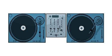 dj mixer: turntables with audio mixing console (vector eps format)