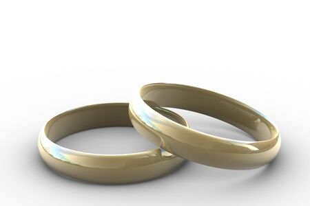 two wedding rings on white background