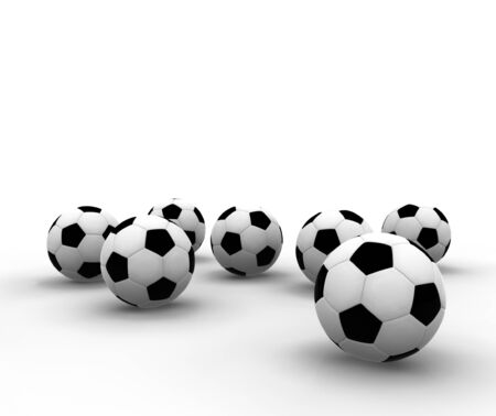 isolated soccer balls - 3d render illustration