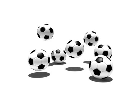 isolated soccer balls in the air with shadow - 3d illustration