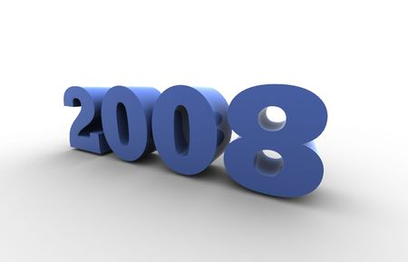 the year 2008 - 3d render illustration with shadow