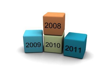 year 2008 - 2009 - 2010 - 2011 - 3d illustration Stock Illustration - 1897712