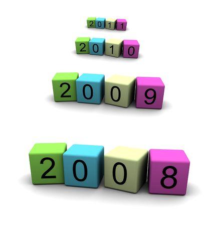 year 2008 - 2009 - 2010 - 2011 - 3d illustration Stock Illustration - 1897715