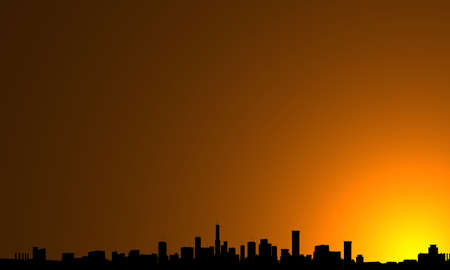 modern cityscape silhouette with sunrise Stock Photo - 1897719