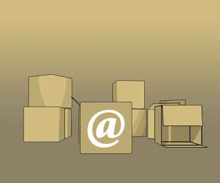 blank 3d boxes with @ sign - illustration illustration