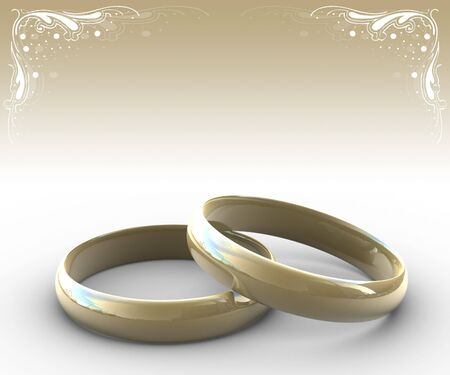 raytracing: two wedding rings with floral elements