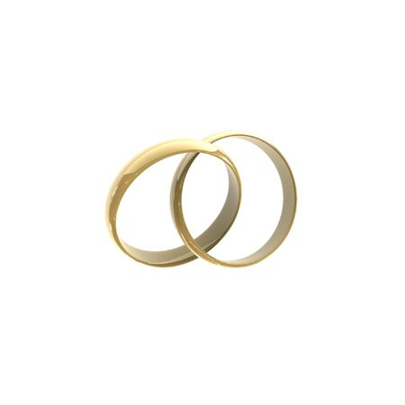 raytracing: isolated two wedding rings on white background