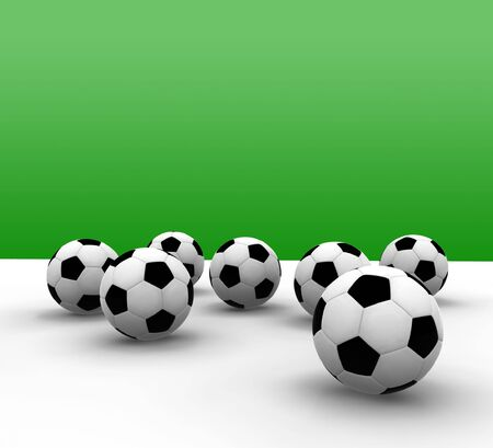 soccer balls with green background - 3d illustration
