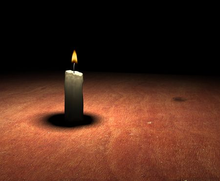 soft-glowing candle light on table - 3d render photo