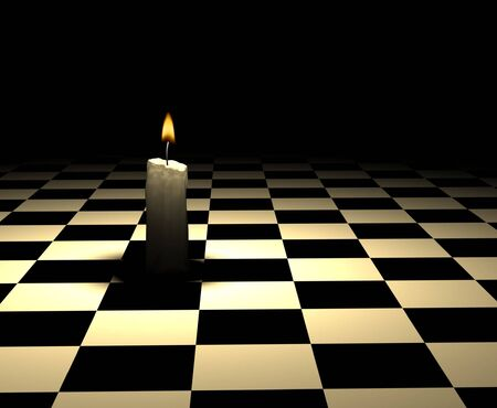 night table: soft-glowing candle light on chessboard - 3d render