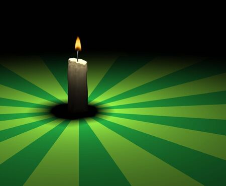 soft-glowing candle light on green retro ground - 3d render photo